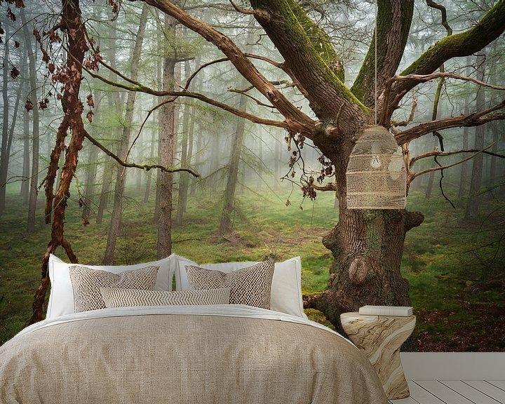 Sfeerimpressie behang: Oude eik in de mist van Rick Kloekke