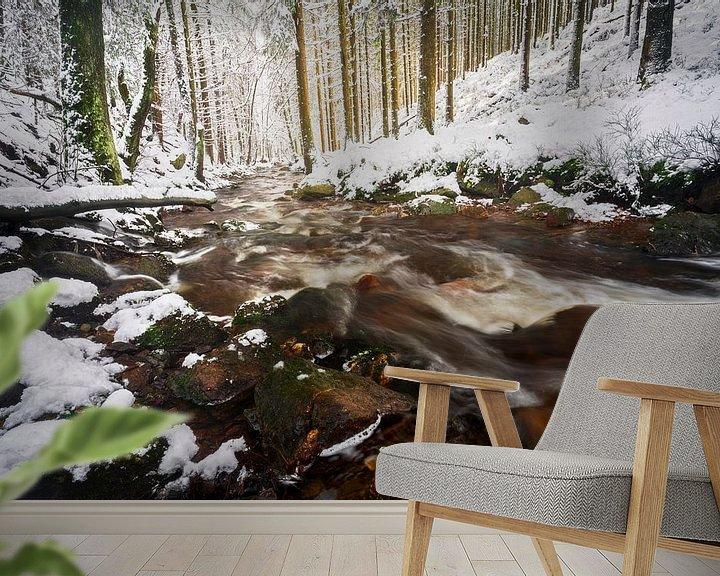Sfeerimpressie behang: Sneeuw in de Ardennen van Rick Kloekke
