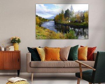 Huis op eiland in de rivier in Zweden van Thomas Zacharias