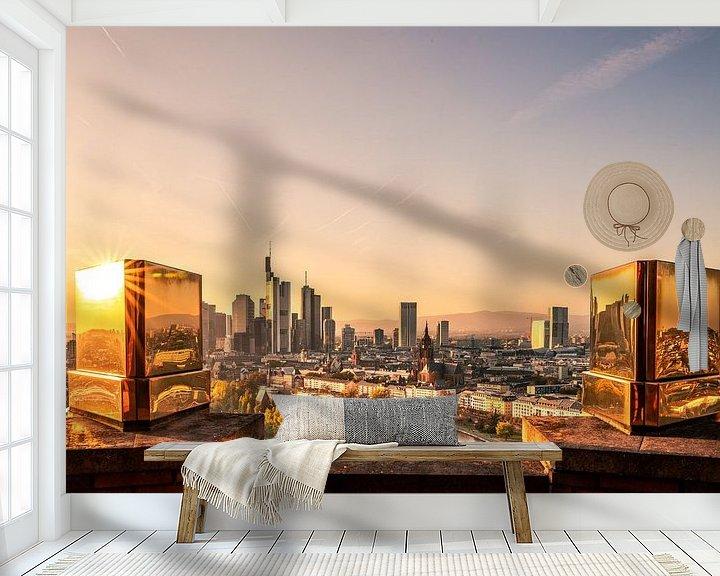 Beispiel fototapete: Frankfurt am main von oben mit goldenen Zinnen im Vordergrund von Fotos by Jan Wehnert