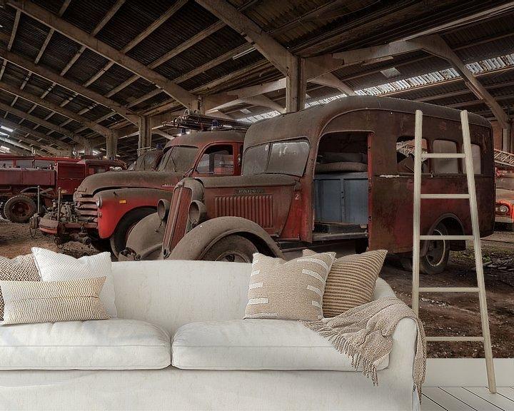 Beispiel fototapete: Lost Place - Feuerwehrautos von Linda Lu