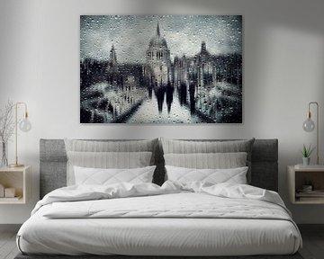 Abstrakte Kunst - City of London School In Rain von Diana van Tankeren