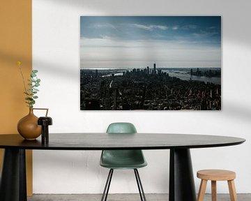 Skyline New York vanaf The Empire State Building | Kleurrijke reisfotografie van Trix Leeflang