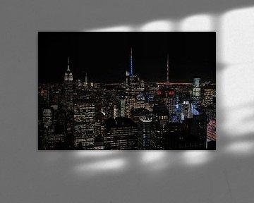 Skyline New York in het donker vanaf de Top of The Rock van Trix Leeflang