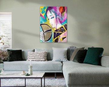 Geisha with Lace Fan van Helia Tayebi Art