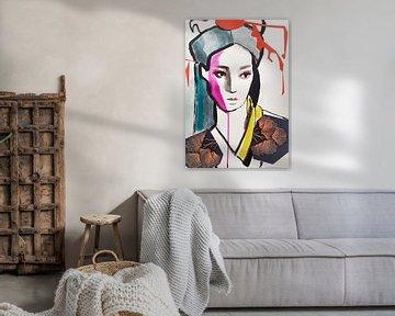 Geisha Ginkgo Biloba van Helia Tayebi Art