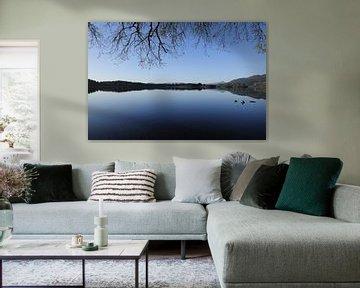 Loch of Merneith meertje in Schotland, winterse dag van Yvette Stevens