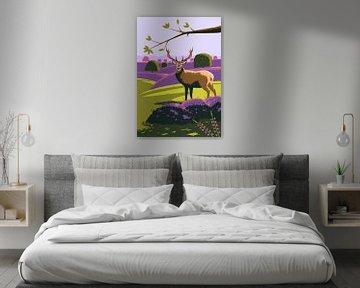 Hirsche im Heidefeld von Eduard Broekhuijsen