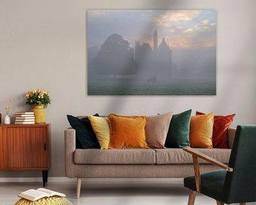 Kasteel Doornenburg en Lakenvelderrunderen in de mist