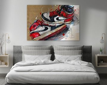 Nike air Jordan 1 Chicago 1984 schilderij van Jos Hoppenbrouwers