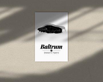 Baltrum | Artistieke landkaart | Eilandsilhouet | Zwart en wit van ViaMapia