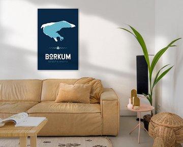 Borkum | Design kaart | Silhouet | Minimalistische kaart van ViaMapia