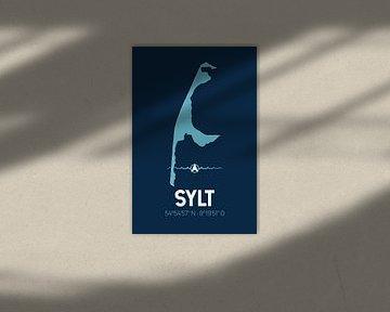 Sylt | Design kaart | Silhouet | Minimalistische kaart van ViaMapia