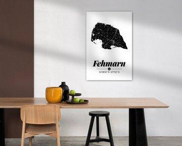 Fehmarn | Artistieke landkaart | Eilandsilhouet | Zwart en wit van ViaMapia