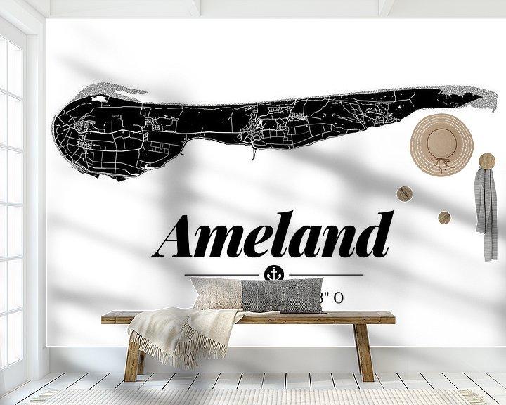 Beispiel fototapete: Ameland | Landkarten-Design | Insel Silhouette | Schwarz-Weiß von ViaMapia