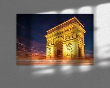 Arc de Triomphe de l'Étoile in Parijs 's nachts van Christian Müringer