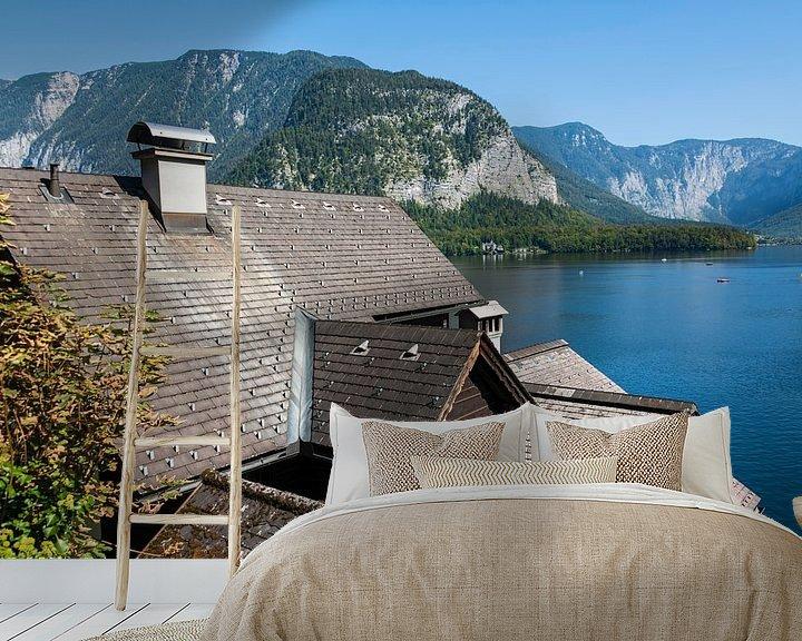 Sfeerimpressie behang: Uitzicht over het Hallstatt-meer van Peter Baier