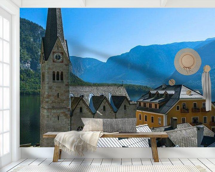 Sfeerimpressie behang: De protestantse kerk in Hallstatt van Peter Baier