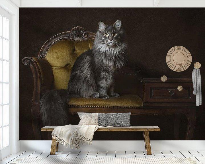 Beispiel fototapete: Vintage Fine Art Portrait Maine Coon Cat von Nikki IJsendoorn