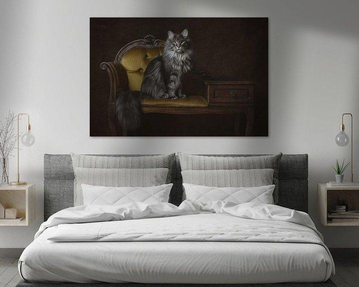 Beispiel: Vintage Fine Art Portrait Maine Coon Cat von Nikki IJsendoorn