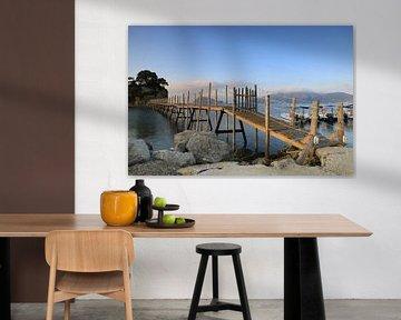 Houten loopbrug naar Cameo Island, Zakynthos, Griekenland van FotoBob