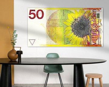 Moderne 50-Gulden-Banknote, Abstrakte digitale Kunstwerke von Art By Dominic
