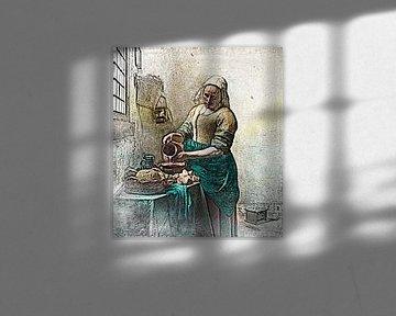 Johannes Vermeer - Het Melkmeisje (Potloodtekening) van Art By Dominic