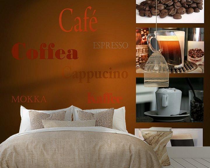 Sfeerimpressie behang: Reclame uiting voor koffiehuis, restaurant of cafe van Margriet Hulsker