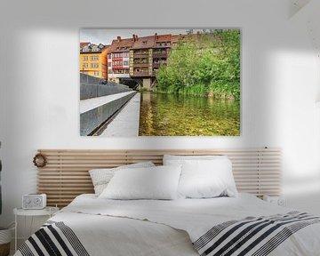 Koopmansbrug en rivier de Gera in Erfurt van Gunter Kirsch