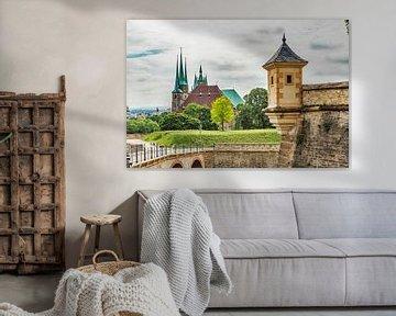 Uitzicht van Petersberg Petersberg naar de kathedraal Erfurt van Gunter Kirsch