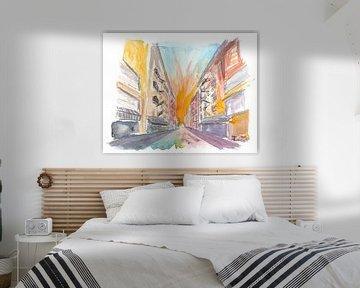 Manhattan straatbeeld met bakstenen gebouwen van Markus Bleichner