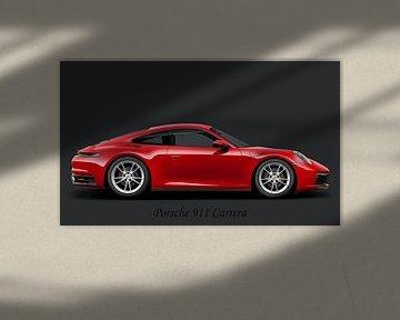 Porsche 911 Carrera, mit Text schwarz von Gert Hilbink