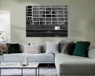 Schwarz-Weiß-Straßenbild Nimwegen von Rutger van Loo