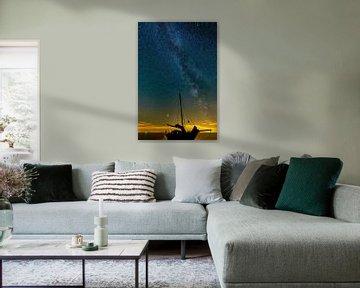 Die Milchstraße über dem Wattenmeer. von Johan Kalthof