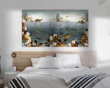 Unterwasserwelt mit Fischen, Schildkröten und Schwänen. von Studio POPPY