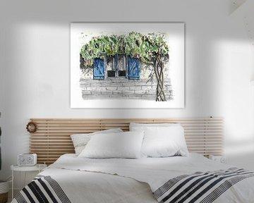 Romantisch Frans raam in aquarel en inkt van Ivonne Wierink