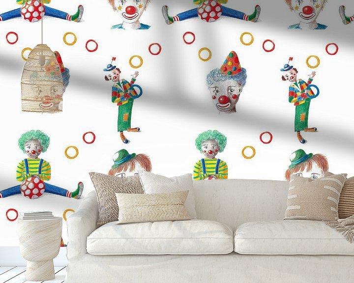 Impression: Des clowns joyeux au motif continu sur Ivonne Wierink
