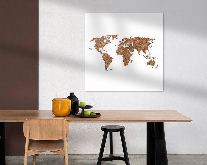 Impression: Wereldkaart van echte Koffiebonen | Wandcirkel sur Wereldkaarten.Shop