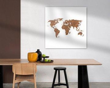 Wereldkaart van echte Koffiebonen | Wandcirkel von Wereldkaarten.Shop