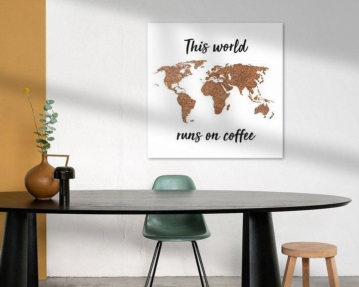 Beispiel: World map Coffee beans with Quote | Wall circle von Wereldkaarten.Shop