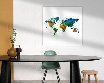 Vrolijke Wereldkaart voor kinderen | Wandcirkel van Wereldkaarten.Shop