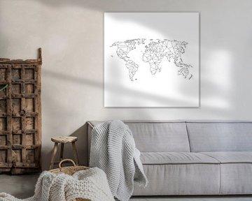 Geometrische Wereldkaart | Wandcirkel van Wereldkaarten.Shop
