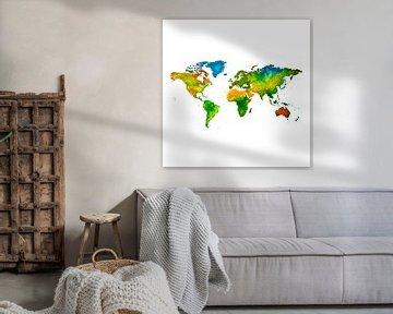 Weltkarte in Aquarell | Wandkreis von Wereldkaarten.Shop