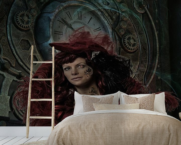 Sfeerimpressie behang: Lady Steampunk van Karin Schwarzgruber