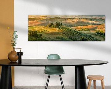Toscane landschap in Italië met prachtig landhuis/boerderij van Fine Art Fotografie