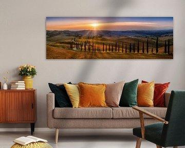 Toscane landschap met velden, cipressenpad en heuvellandschap bij zonsondergang van Voss Fine Art Fotografie