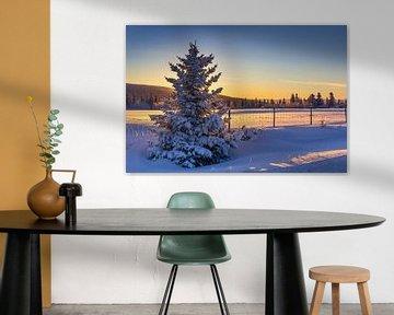 Winteravond in Noorwegen van Adelheid Smitt