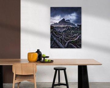Alpenpanorama in de Dolomieten in Italië in mystiek licht van Voss Fine Art Fotografie