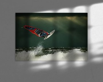 up in the air - Ein Surfer auf der Nordsee von Stephan Zaun