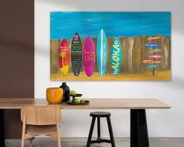 Sommer und Palmen Surf Board Wall von Markus Bleichner